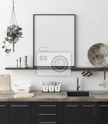 Bild Mock up poster frame in kitchen interior background, Ethnic style, 3d render