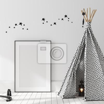 Bild Mock up poster, wall in children bedroom interior background, Scandinavian style, 3D render