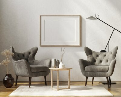 Bild Mockup poster with two gray armchairs, home decoration in the living room. 3d render, 3d illustration.