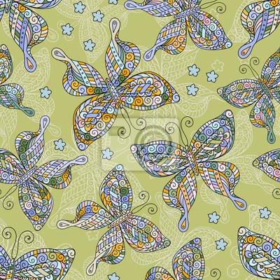 Mode Schmetterlinge Muster Bunte Objekte Auf Gelbem Hintergrund
