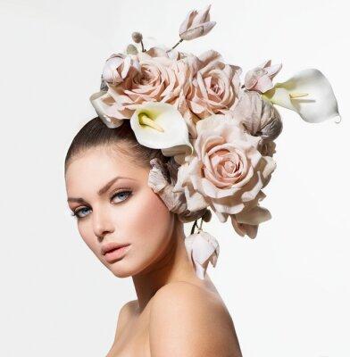 Bild Mode Schönheit Mädchen mit Blumen Haar. Braut. Kreative Frisur