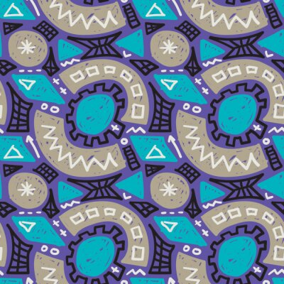Bild Modern childish seamless pattern. Grunge style textile texture. Doodle vector background, abstract cartoon wrapping design.