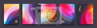 Bild Modern Covers Template Design. Fluid colors. Set of Trendy Holographic Gradient shapes for Presentation, Magazines, Flyers, Annual Reports, Posters and Business Cards. Vector EPS 10