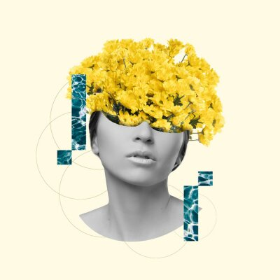 Bild Modern design, contemporary art collage. Inspiration, idea, trendy urban magazine style. Female beauty portrait with flowers on pastel background