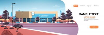 Bild modern drugstore front view pharmacy store building exterior in suburban area medicine healthcare concept horizontal copy space vector illustration
