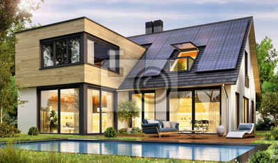Bild Modern house with solar panels and pool