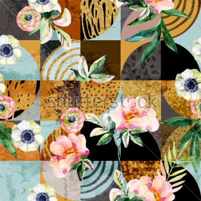 Bild Modern seamless geometric and floral pattern: watercolor flowers and leaves on semicircles, circles, squares, grunge, golden glitter textures, doodles abstract background. Art illustration