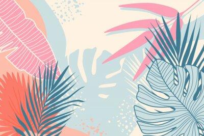Bild Modern tropical background. Jungle plants nature backdrop. Summer palm leaves wallpaper.