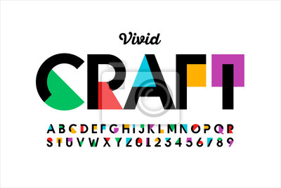Bild Modern vivid color style font, vibtant alphabet, letters and numbers