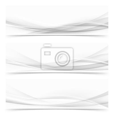 Bild Moderne abstrakte transparente Halbton-Linien Header-Set. Futuristische weiche Swoosh Wave Web Footer Sammlung
