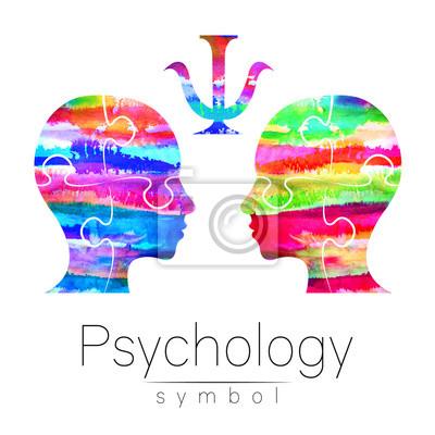 Bild Moderne Aquarell Kopf Logo Der Psychologie. Profil Mensch. Kreativer  Stil. Deutsch: