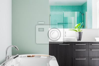 Moderne badezimmer mit weichen pastell-farben grün leinwandbilder ...