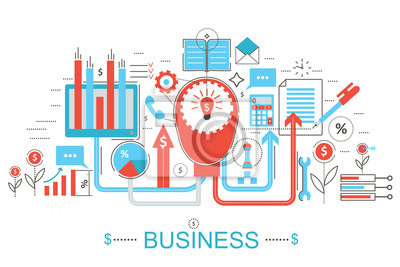 Bild Moderne Flache Dünne Linie Design Finanz Und Business Konzept Für  Web Banner