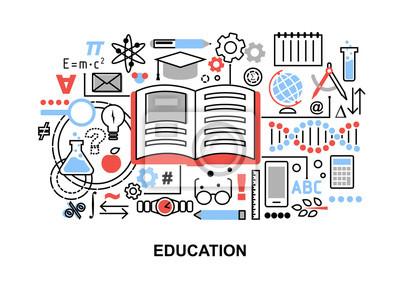 Bild Moderne Flache Dünne Linie Design Vektor Illustration, Konzept Der  Bildung Prozess, Lernen