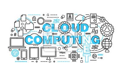 Bild Moderne Flache Dünne Linie Design Vektor Illustration, Konzept Der  Cloud Computing
