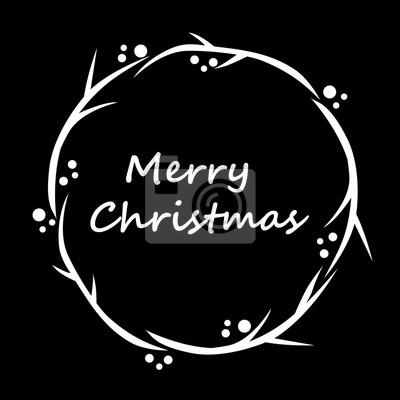 Frohe Weihnachten Schablone.Bild Moderne Frohe Weihnachten Grafik Kranz Schablone Auf Schwarzem