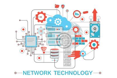 Lieblich Bild Moderne Grafische Flache Linie Design Stil Infografiken Konzept Der  Globalen Netzwerk Technologie Mit
