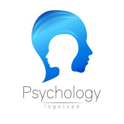 Bild Moderne Kopf Logo Der Psychologie. Profil Mensch. Kreativer Stil.  Logotype Im Vektor