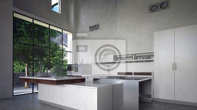 Moderne küche mit kücheninsel in beton loft leinwandbilder • bilder ...