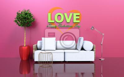 Bild Moderne Liebe Glücklich Valentinstag Wohnzimmer Mit Sofa Baum Und Eine  Lampe 3D Rendering