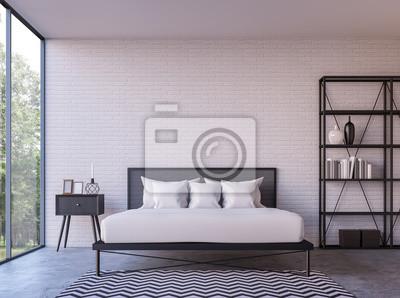 Moderne loft-schlafzimmer mit blick auf die natur 3d-rendering-bild ...