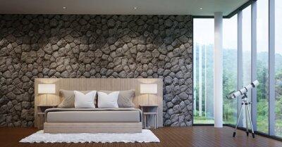 Hervorragend Bild Moderne Luxus Schlafzimmer Schmücken Wände Mit Natur Stein Grobe Haut