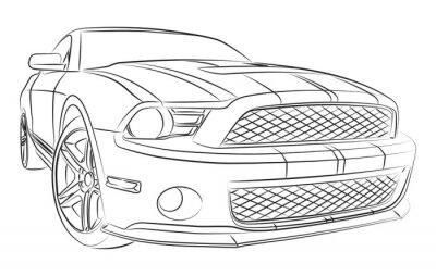 Moderne Muscle Car Zeichnung Leinwandbilder Bilder Mustang Auto