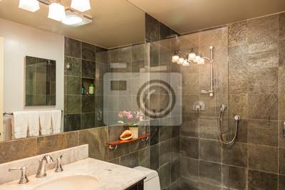 Moderne dusche fliesen  Moderne renovierte badezimmer granit dusche fliesen leinwandbilder ...