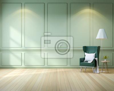 Moderne Schicke Interieur Wohnzimmer Grunen Sessel Und Holzboden