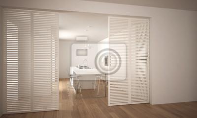 Moderne schiebetür mit küche im hintergrund, innenarchitektur ...