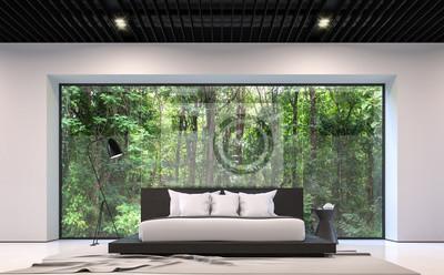 Bild: Moderne schwarz-weiß-schlafzimmer mit wald-ansicht 3d-rendering