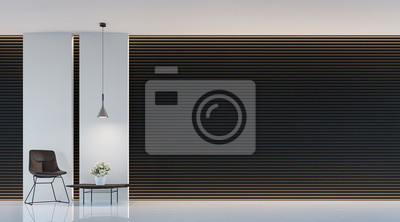 Bild Moderne Schwarz Weiß Wohnzimmer Interieur 3D Rendering Bild. Eine  Leere Wand