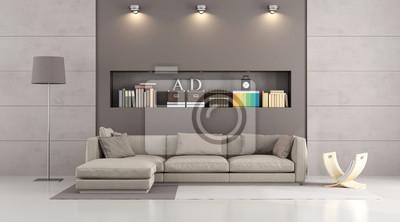 Moderne sofa in einem modernen wohnzimmer leinwandbilder • bilder ...