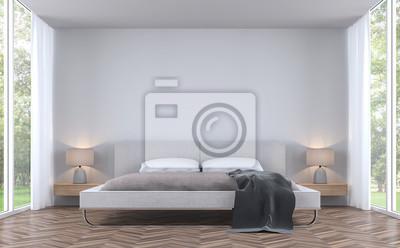 Bild Moderne Stile Schlafzimmer Mit Garten Blick 3D Rendering Bild.Es Gibt  Weiße Wand Und
