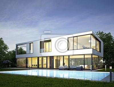 Moderne villa mit pool am abend leinwandbilder u bilder neubau
