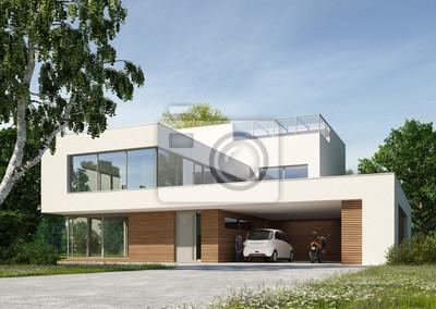 Moderne villa weiss tag leinwandbilder u bilder in gips neubau