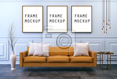 Moderne vintage interieur mit mock up poster wohnzimmer braunes