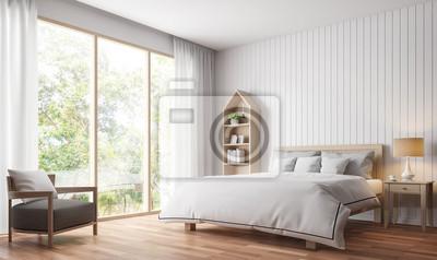 Bild: Moderne vintage-schlafzimmer 3d-rendering image.there sind holzboden