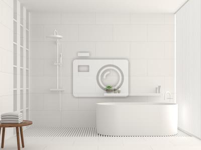 Bild: Moderne weiße badezimmer innenraum 3d-rendering-bild. es gibt