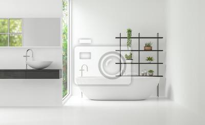 Bild Moderne Weiße Badezimmer Innenraum Minimal Stil 3d Rendering Bild. Es  Gibt Große Fenster,