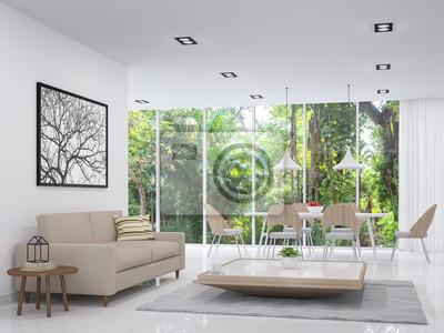 Entzuckend Bild Moderne Weiße Wohn Und Esszimmer Mit Blick Auf Die Natur 3D Render  Bild.