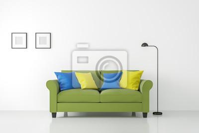 Moderne weiße wohnzimmer interieur mit bunten sofa d rendering