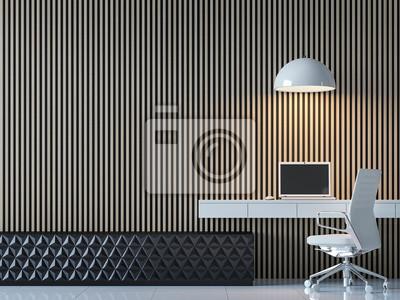Bild Moderne Zeitgenössische Arbeitsraum Innenraum 3d Rendering Image.There  Sind Dekorieren Wand Mit Vertikalen Holz