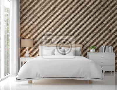 Bild Moderne Zeitgenössische Schlafzimmer Interieur Mit Holzgitter  3D Rendering Image.There Sind Weiße Boden