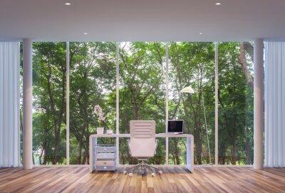 Moderner Arbeitsraum Umgeben Von Natur Grosse Fenster Blick