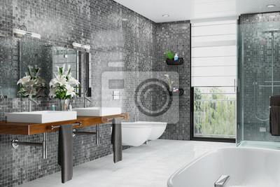 Modernes Badezimmer In Weiss Und Schwarz Mit Dusche Badewanne