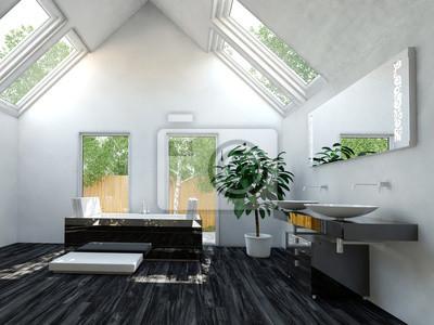 Bild Modernes Badezimmer Mit Badewanne Und Luxus Dachschräge
