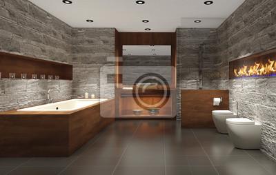Modernes badezimmer mit holz und stein, badezimmer leinwandbilder ...