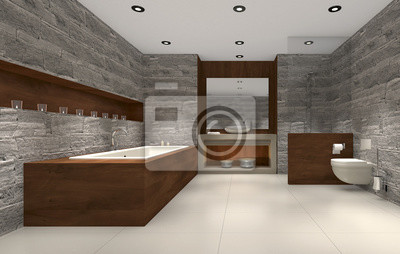 Modernes Badezimmer Mit Holz Und Stein Badezimmer Leinwandbilder