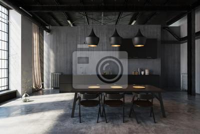 Modernes Esszimmer Mit Design Kuche Im Loft Leinwandbilder Bilder
